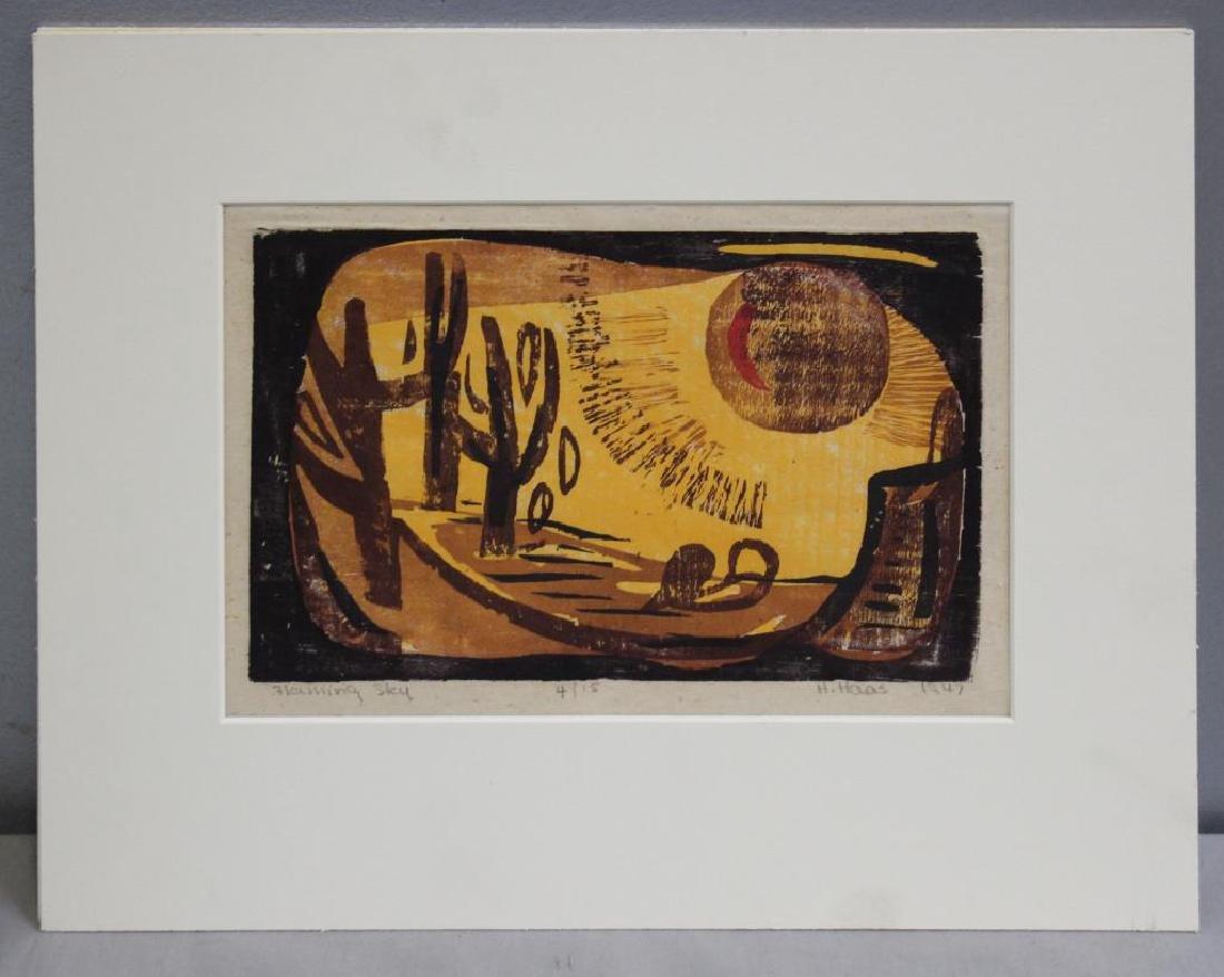 """HAAS, Hildegarde. Woodcut. """"Flaming Sky"""". 1947. - 2"""