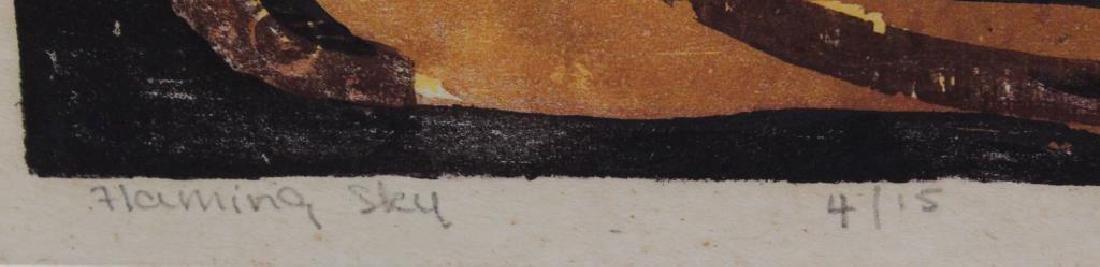 """HAAS, Hildegarde. Woodcut. """"Flaming Sky"""". 1947. - 4"""