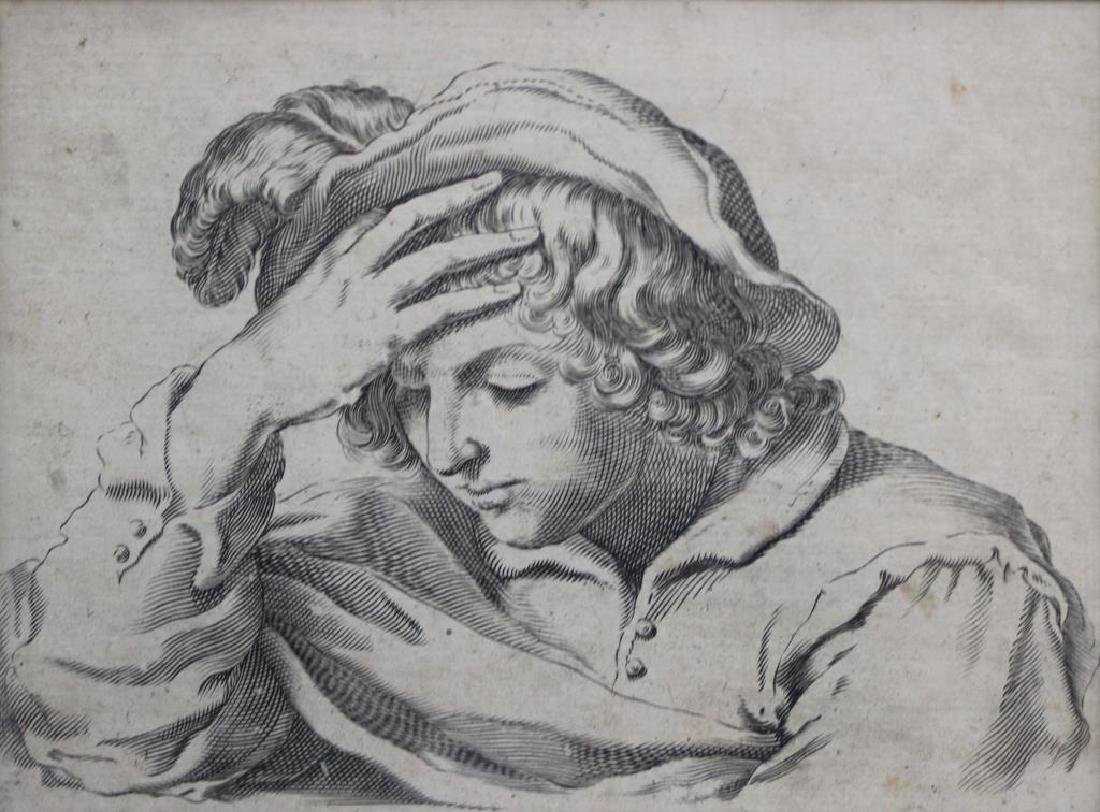 UNSIGNED. Engraving. Old Master Figure.