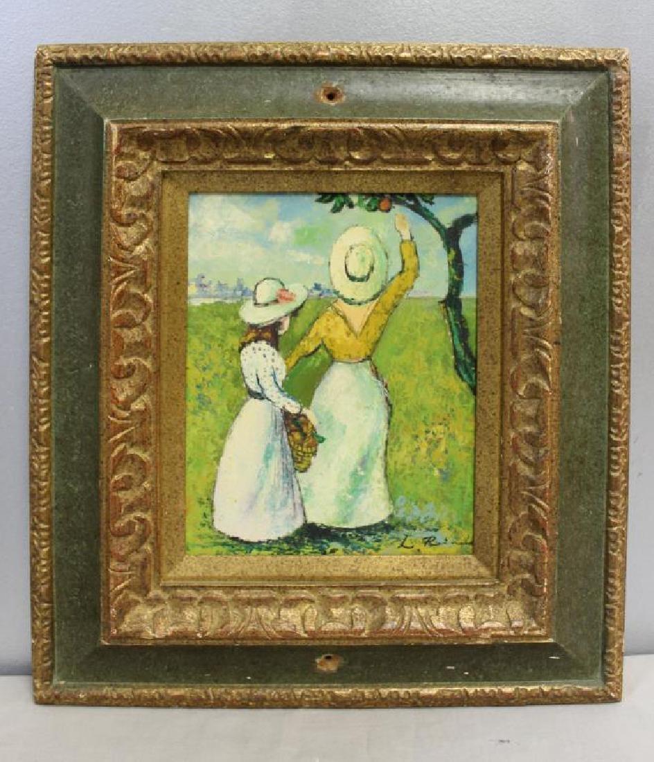 RAINALD, L. Oil on Panel. Figures in Garden. - 2