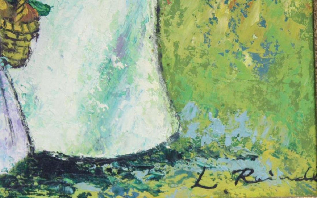 RAINALD, L. Oil on Panel. Figures in Garden. - 3