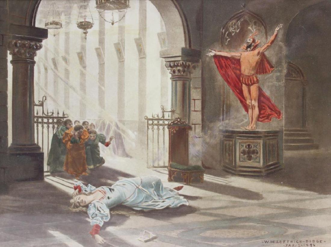 DE LEFTWICH-Dodge, W. Gouache. Fantasy Scene. 1896