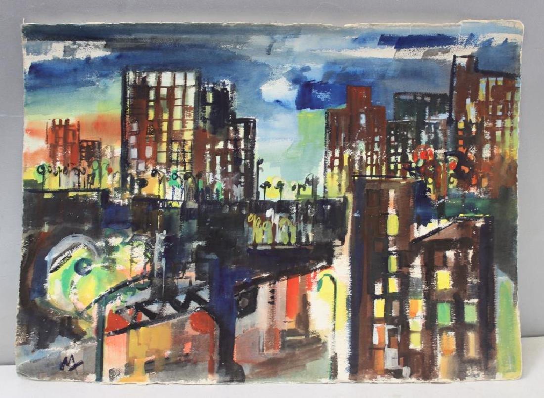"MARZI. Oil on Paper. ""Bronx Epiphany (503)"". 1968."