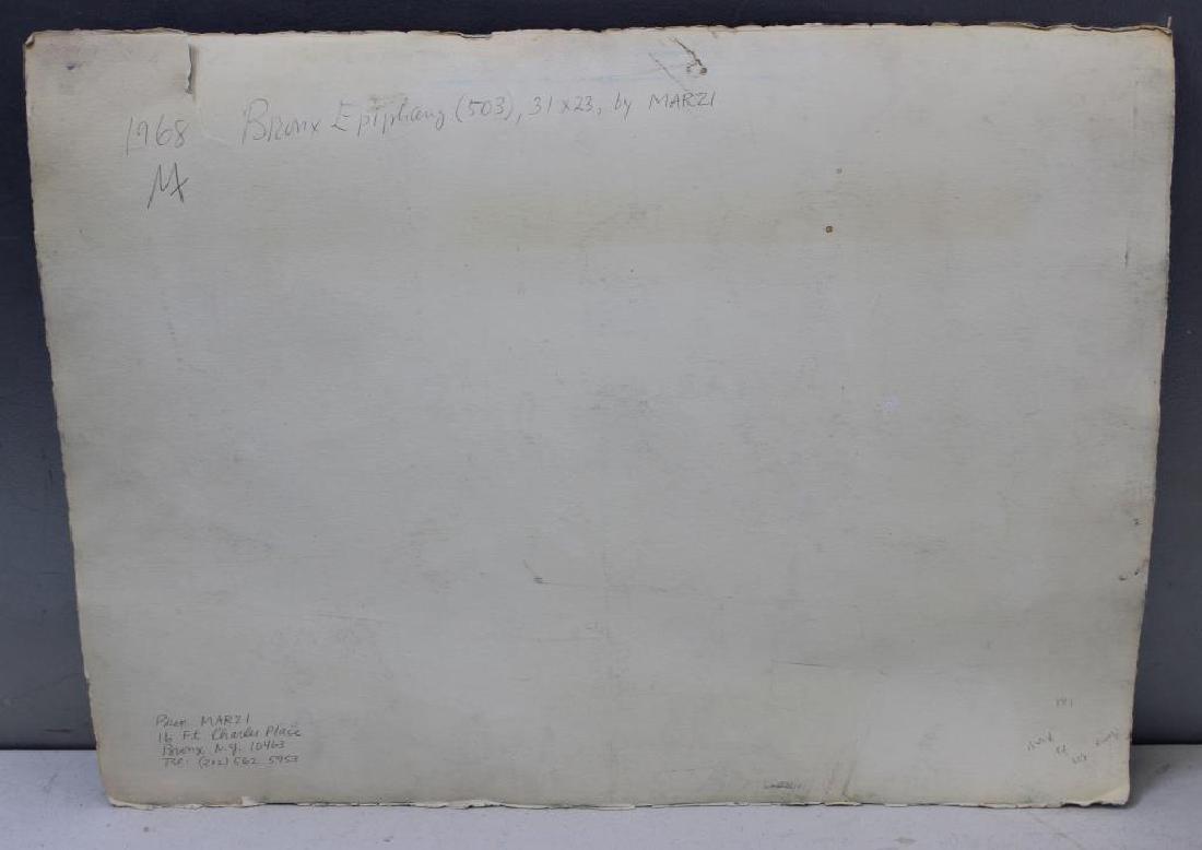 "MARZI. Oil on Paper. ""Bronx Epiphany (503)"". 1968. - 5"