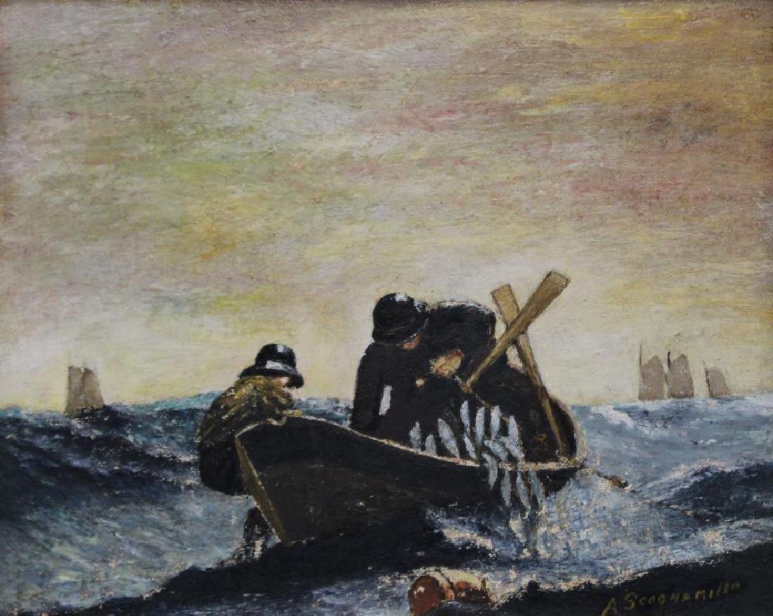 SCOGNAMILLO, A. Oil on Panel. Fishermen.