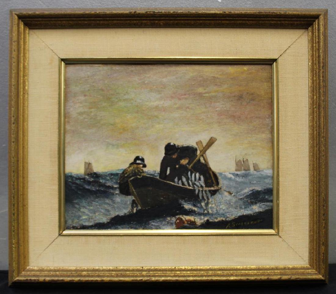 SCOGNAMILLO, A. Oil on Panel. Fishermen. - 2