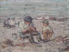 CUZZI, Giovanni. Oil on Canvas. Beach Scene.