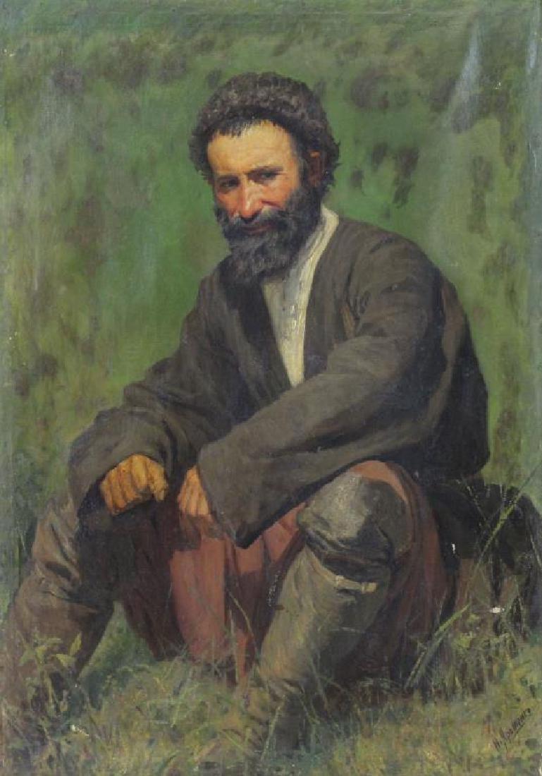 YAROSHENKO, Nikolai. Oil on Canvas. Seated Peasant