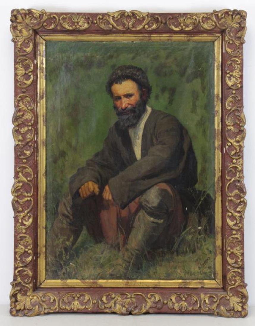 YAROSHENKO, Nikolai. Oil on Canvas. Seated Peasant - 2