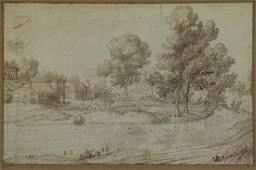 Flemish School, 17th C. River Scene. Ink and Wash