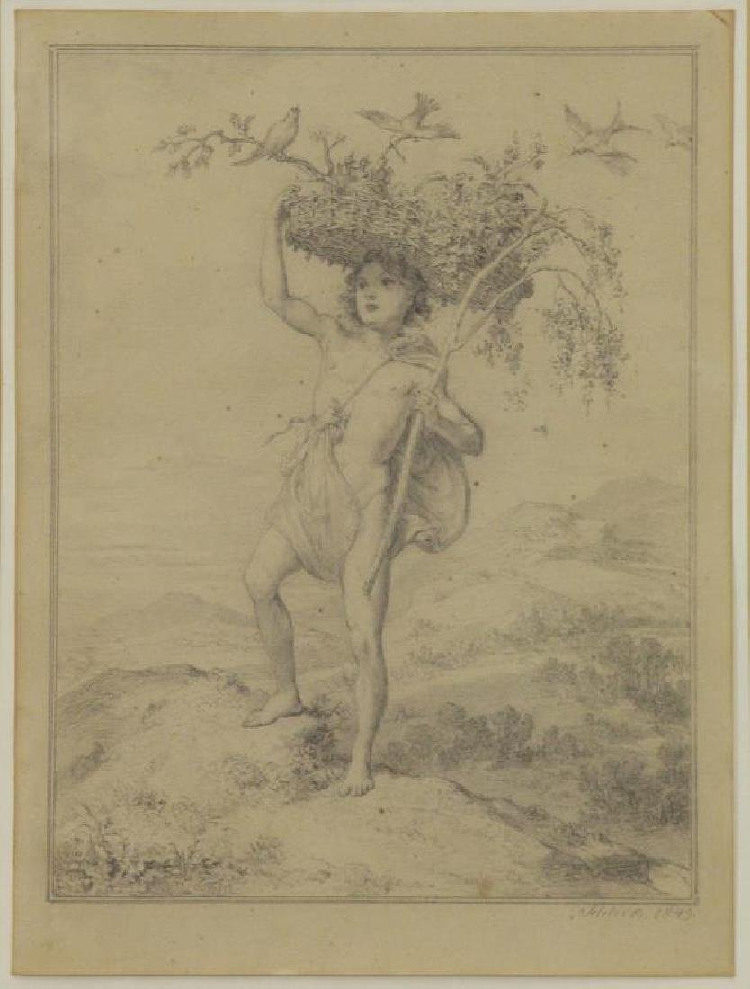 SCHLICK, Gustav. Pencil on Paper. Male Nude with