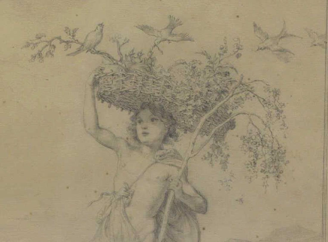 SCHLICK, Gustav. Pencil on Paper. Male Nude with - 3