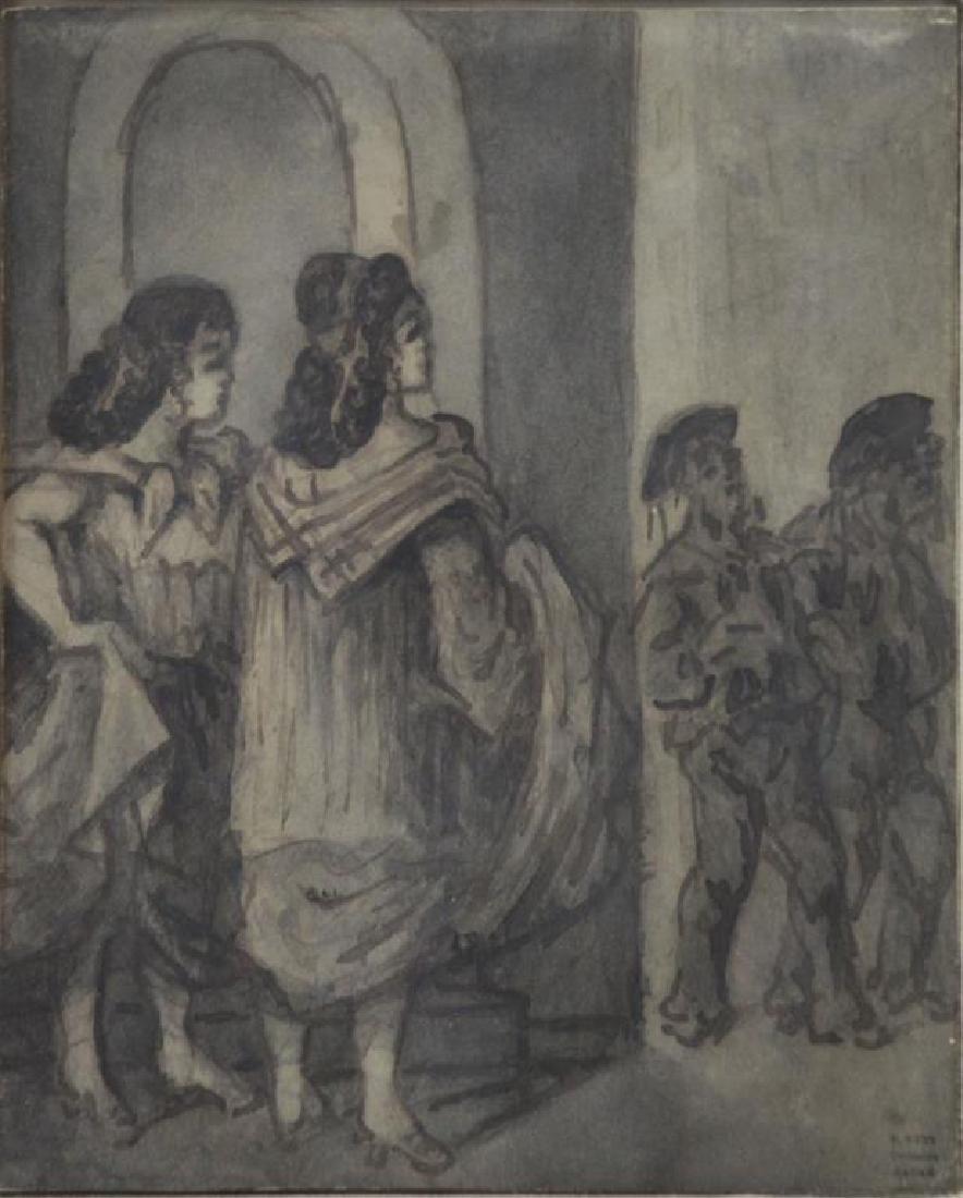 "GUYS, Constantin. Ink Wash. ""Filles et Marins""."