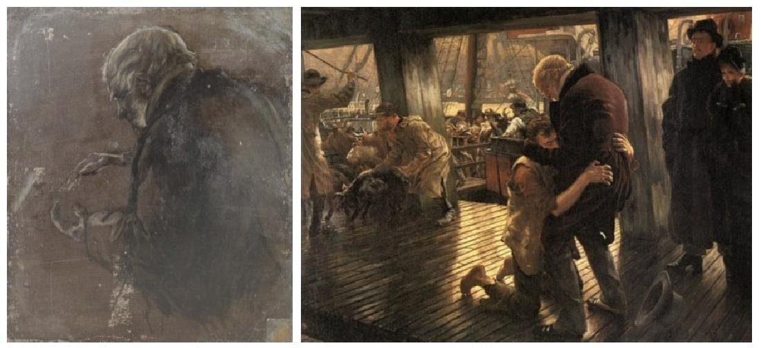 TISSOT, James. Double Sided Oil on Board Study. - 10