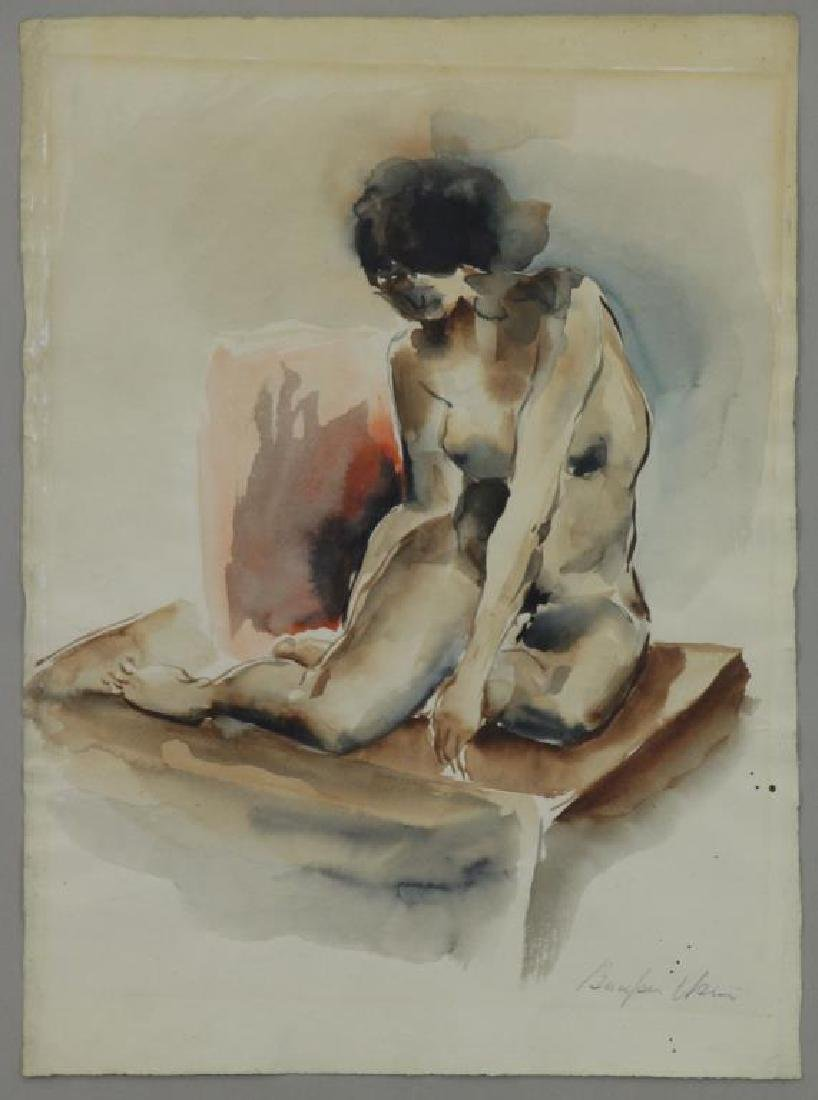 USUI, Bumpei. Watercolor on Paper. Nude Model.