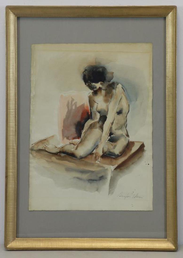 USUI, Bumpei. Watercolor on Paper. Nude Model. - 2