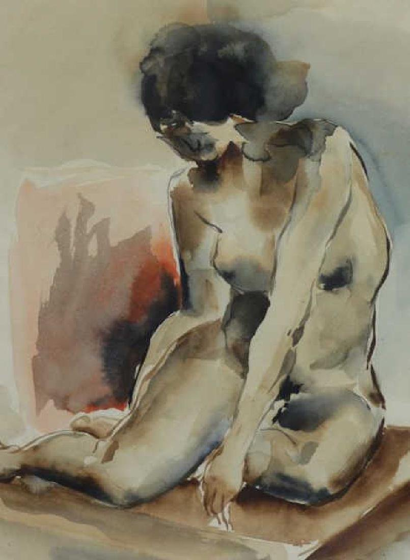 USUI, Bumpei. Watercolor on Paper. Nude Model. - 3