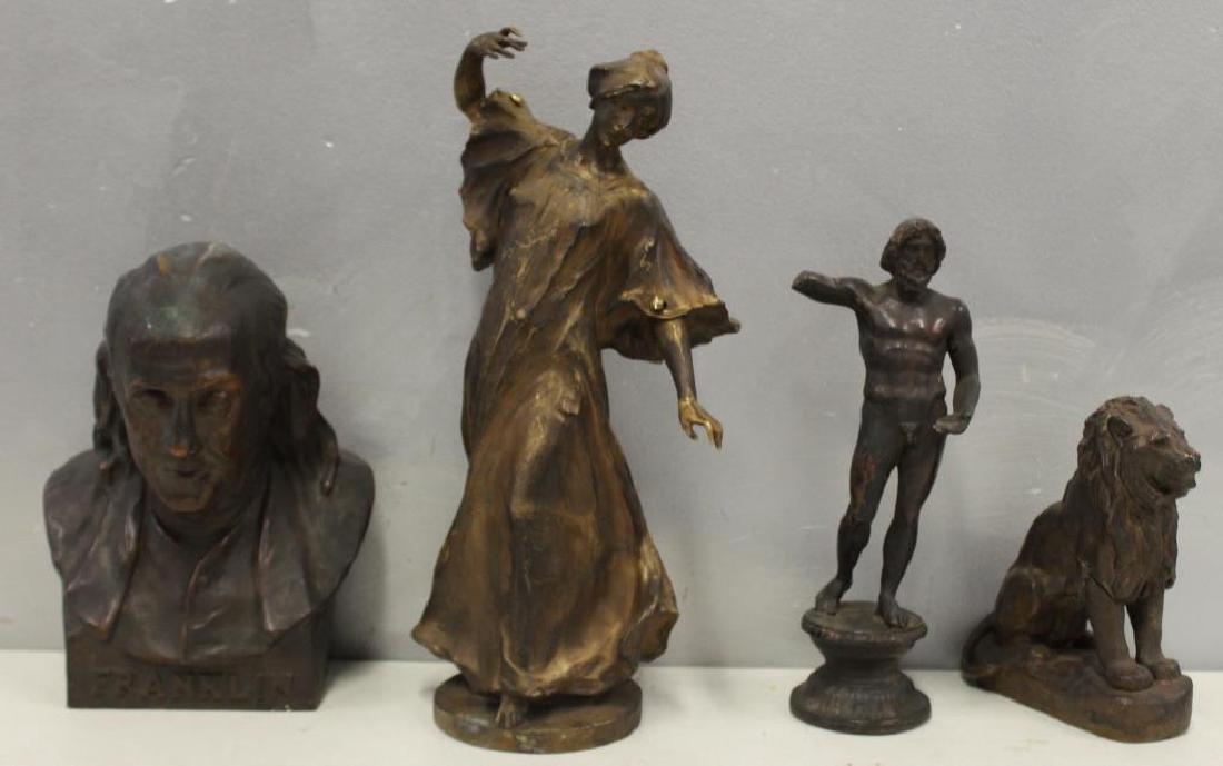 Grouping Of Antique Bronze Sculptures .