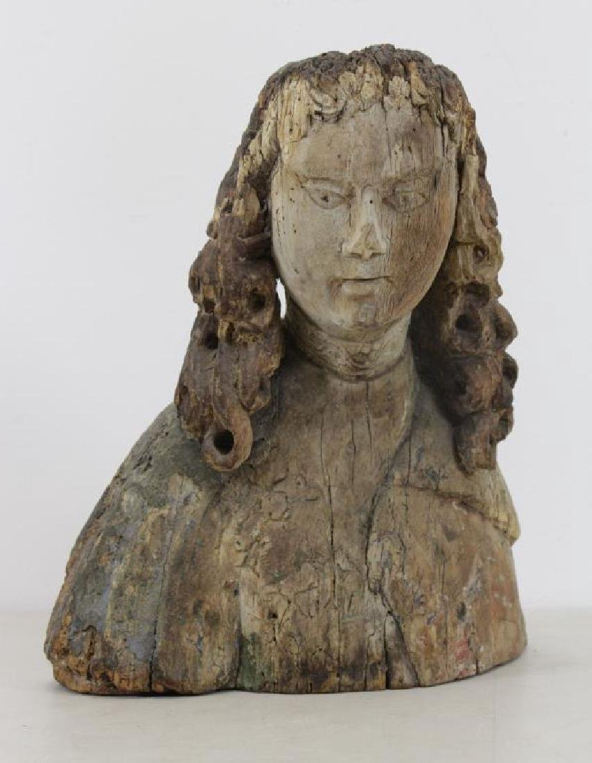 16th C.  German Carved Wood Bust.