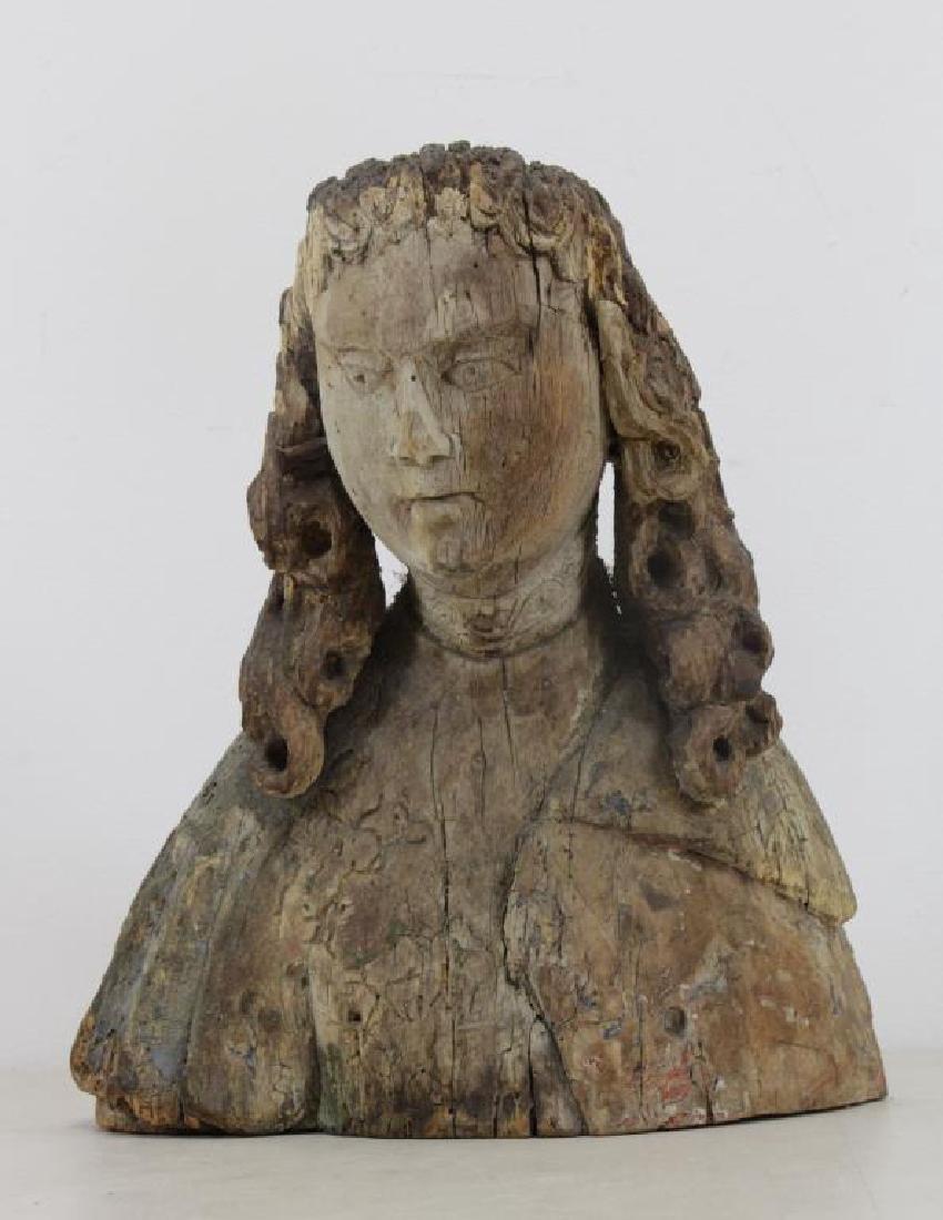 16th C.  German Carved Wood Bust. - 2
