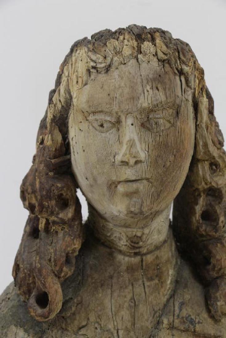 16th C.  German Carved Wood Bust. - 3