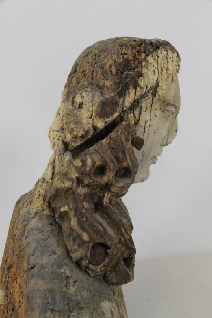 16th C.  German Carved Wood Bust. - 6