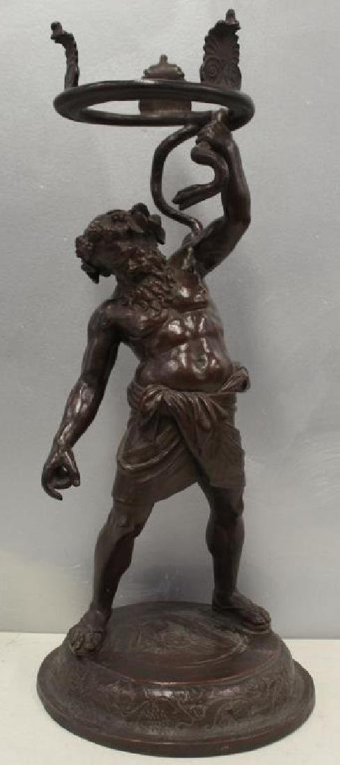 UNSIGNED. Antique Patinated Bronze Figural Stand