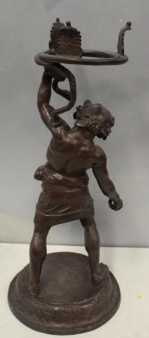 UNSIGNED. Antique Patinated Bronze Figural Stand - 3