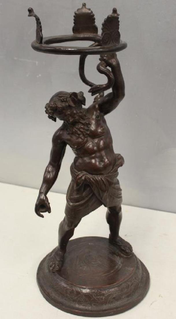 UNSIGNED. Antique Patinated Bronze Figural Stand - 5