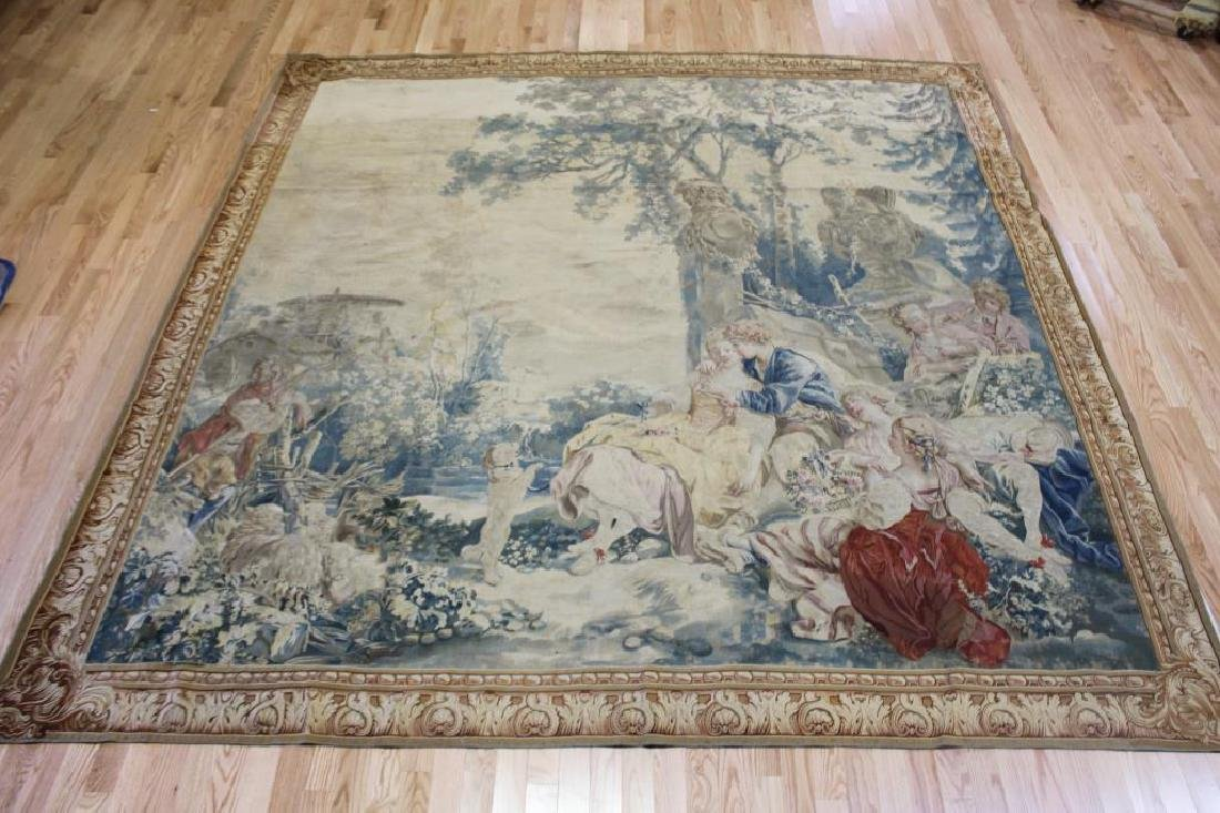 Magnificent  Signed Antique Continental Tapestry