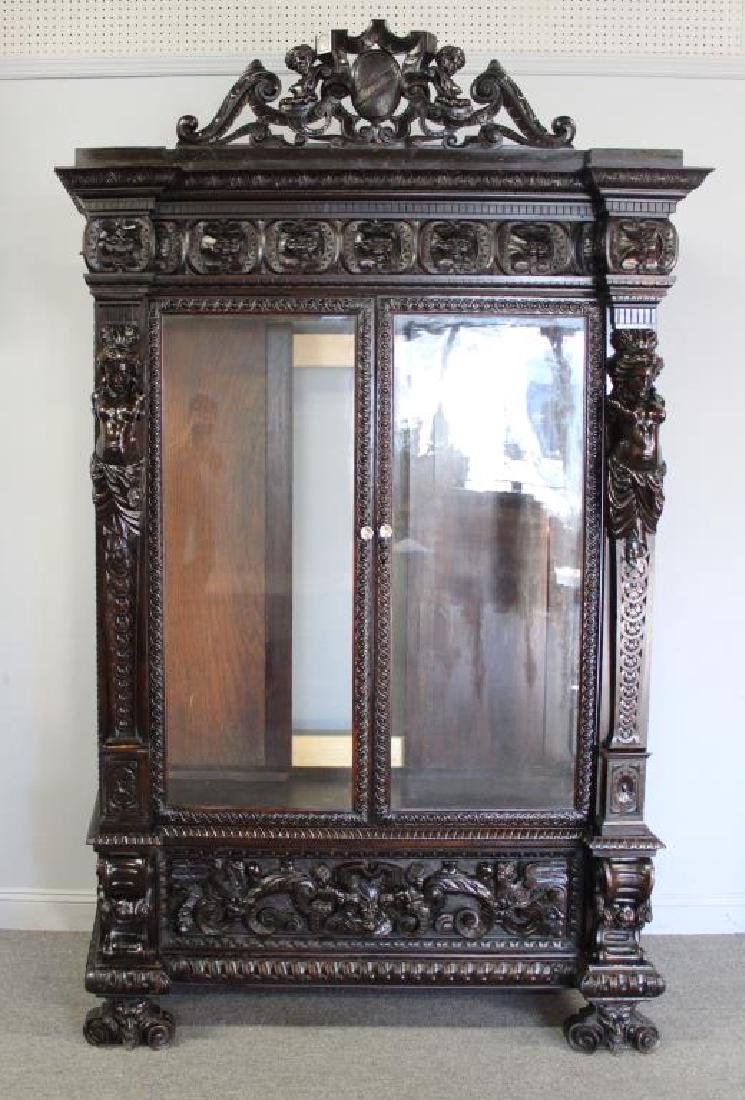 Highly Carved Antique Mahogany 2 Door Bookcase .