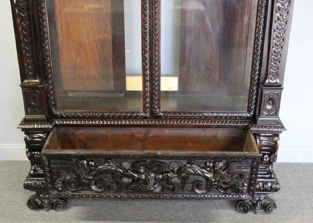 Highly Carved Antique Mahogany 2 Door Bookcase . - 3