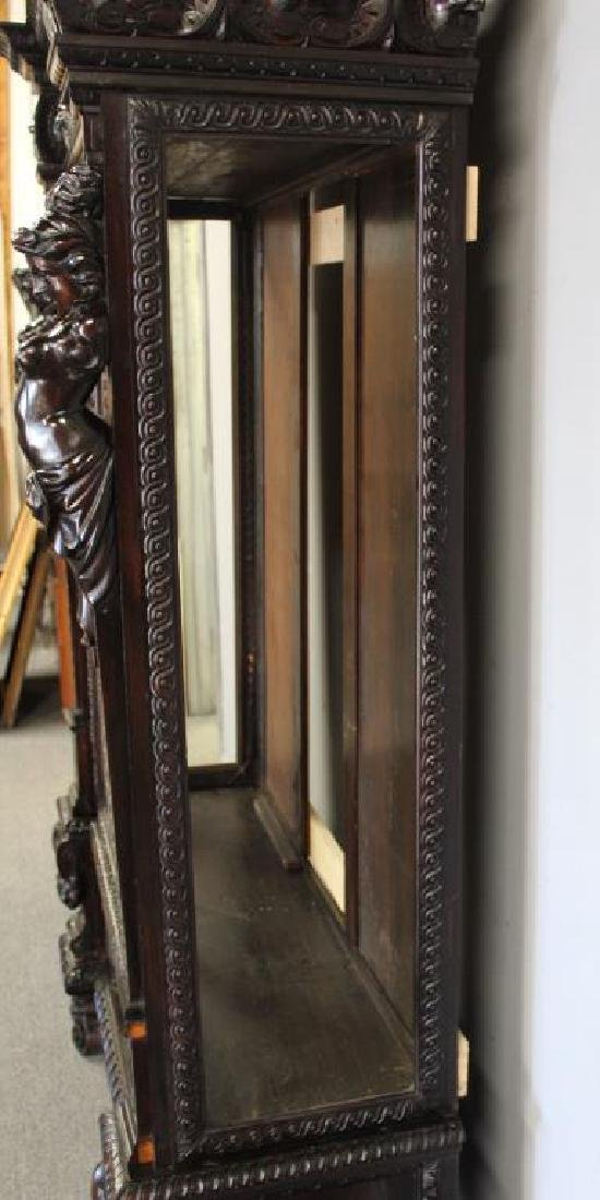 Highly Carved Antique Mahogany 2 Door Bookcase . - 5