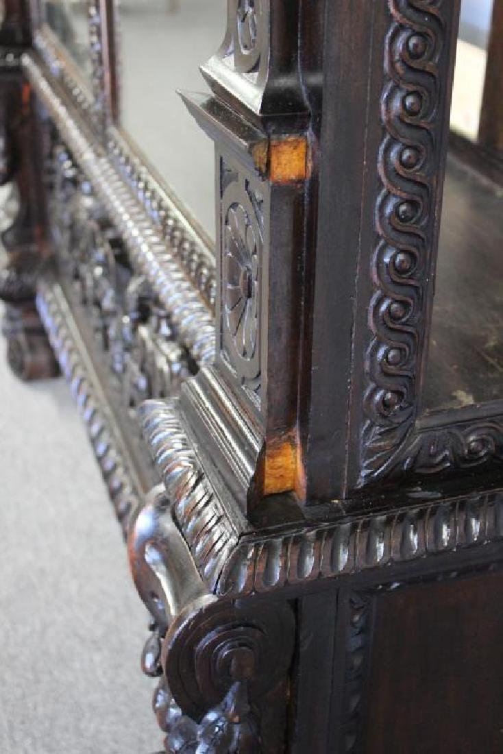 Highly Carved Antique Mahogany 2 Door Bookcase . - 7