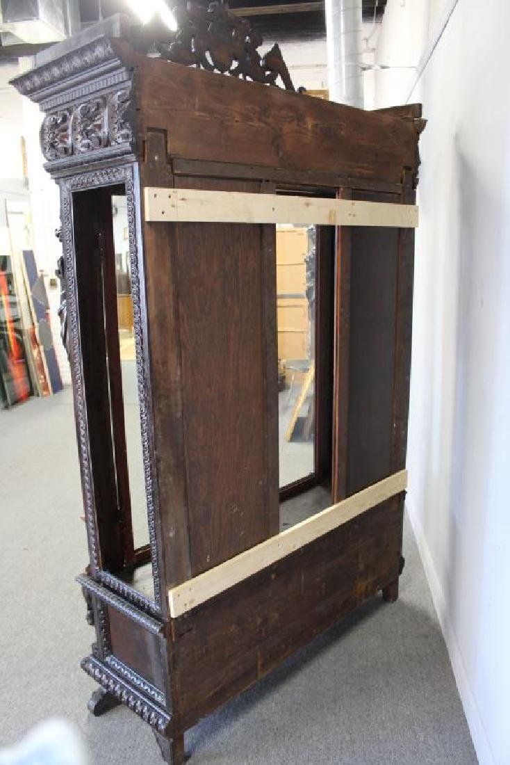 Highly Carved Antique Mahogany 2 Door Bookcase . - 8