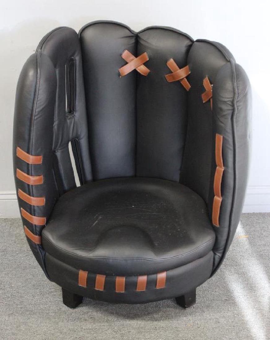 Vintage Budweiser Leather Baseball Glove Chair .