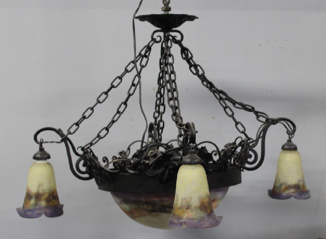 Art Nouveau Luneville Art Glass & Iron Chandelier