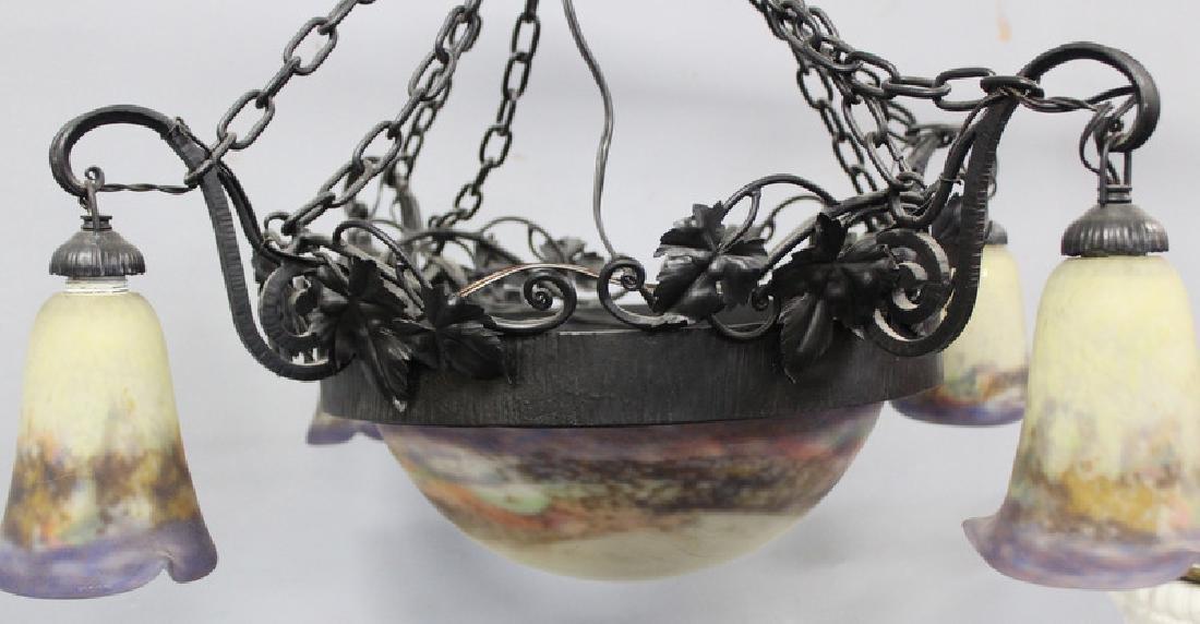Art Nouveau Luneville Art Glass & Iron Chandelier - 2