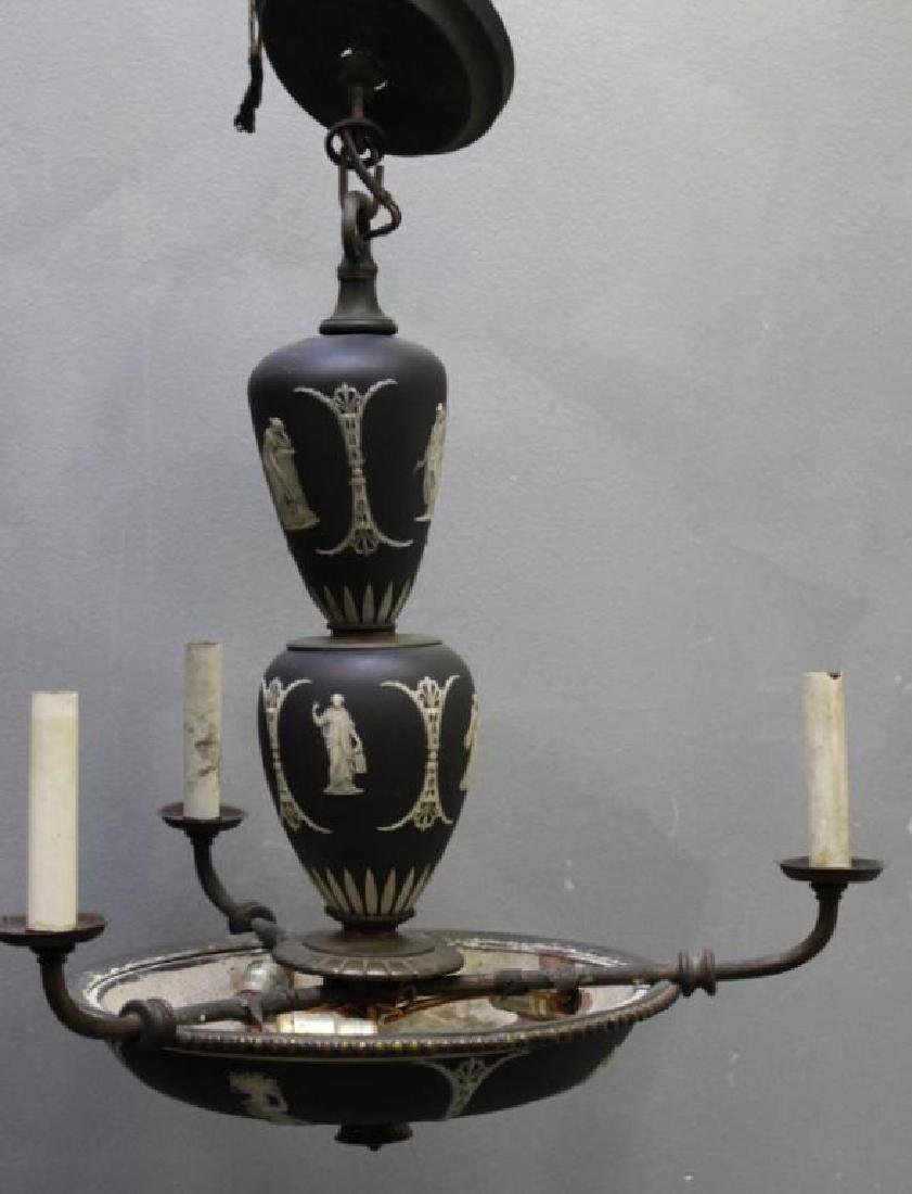 WEDGWOOD. Antique Basalt 3 Arm Chandelier.