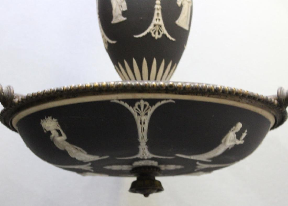 WEDGWOOD. Antique Basalt 3 Arm Chandelier. - 3