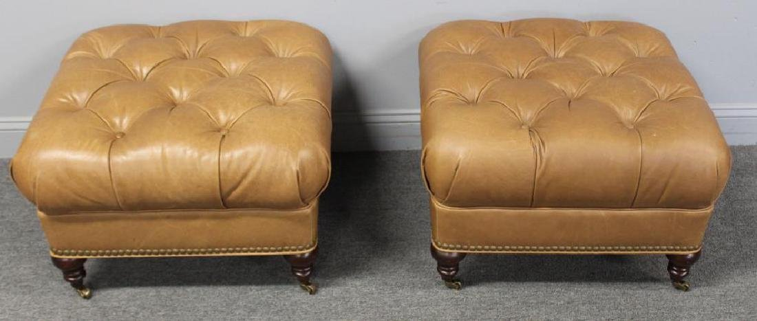 Pair of Quality Leather Upholstered Ottomans.