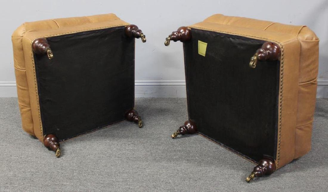 Pair of Quality Leather Upholstered Ottomans. - 4
