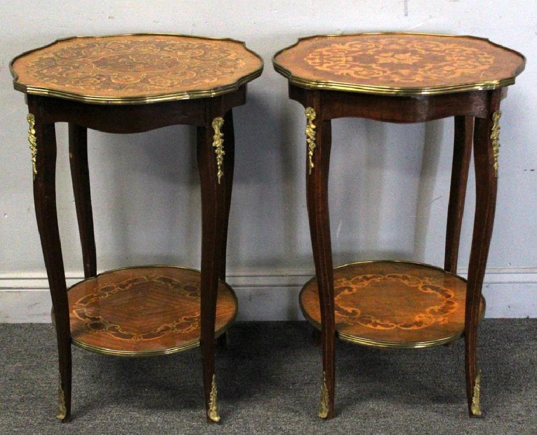 Pair of Bronze Mounted Marquetry Inlaid Tables.