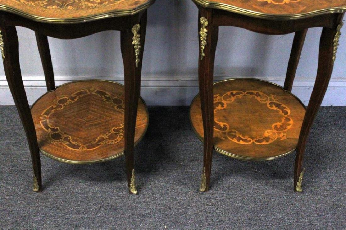Pair of Bronze Mounted Marquetry Inlaid Tables. - 2