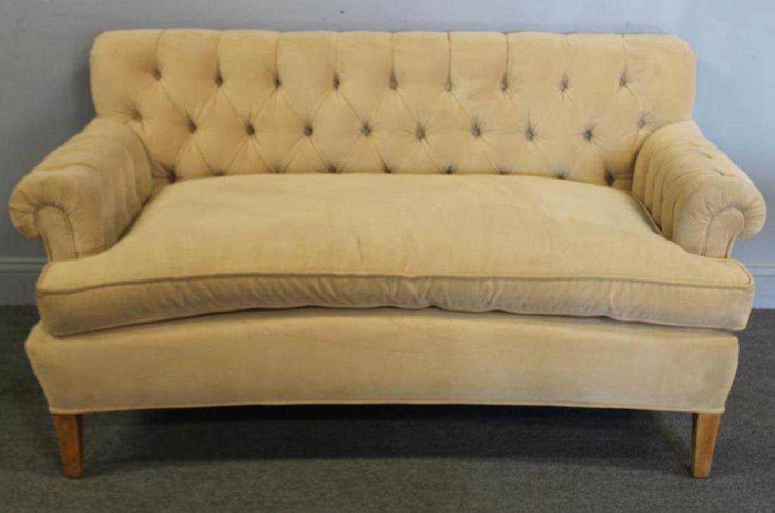 Vintage Upholstered  Chesterfield Style Settee.