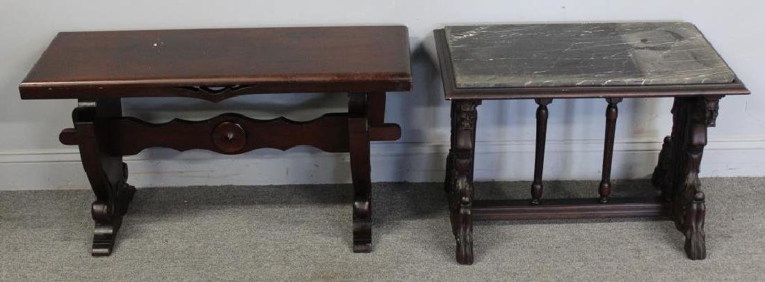 Antique Carved Bench and Marbletop Table.