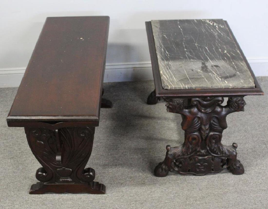 Antique Carved Bench and Marbletop Table. - 4