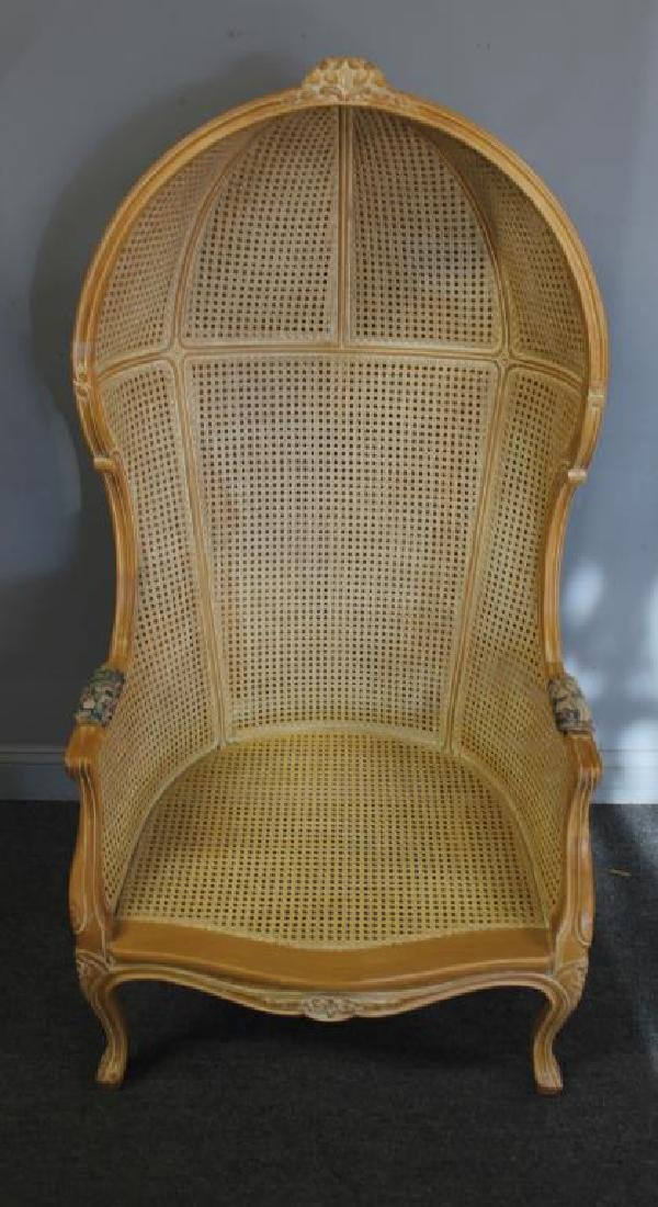 A Vintage Louis XV Style Caned Porter's Chair - 3