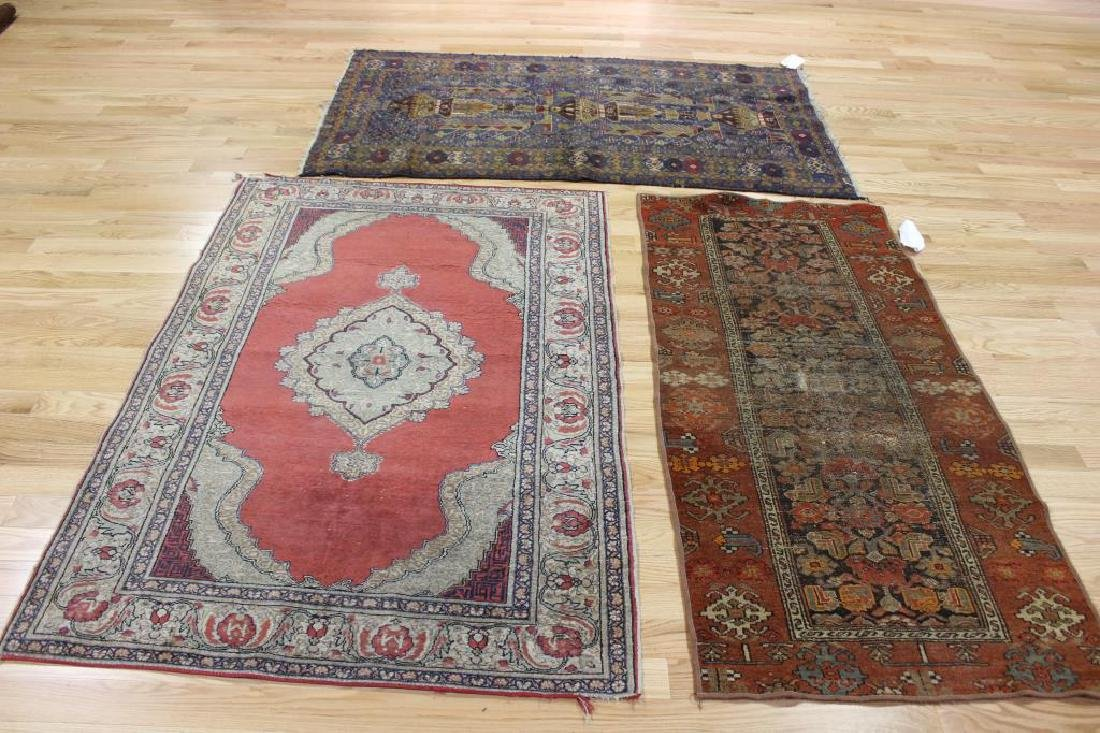 3 Antique and Finely Hand Woven Area Carpets.