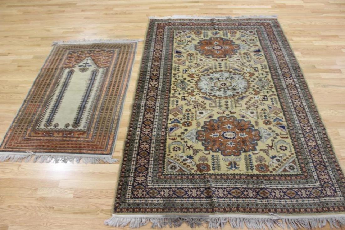 Lot of 2 Antique Finely Hand Woven Area Rugs.